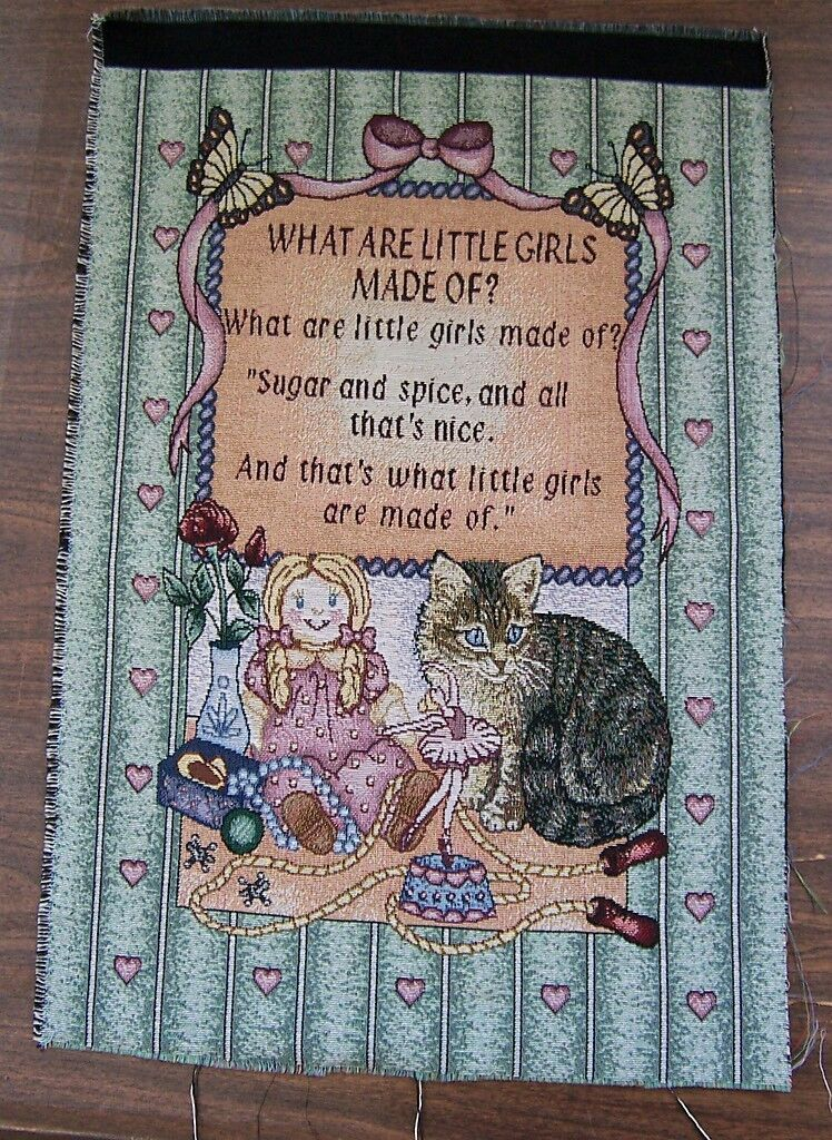 What Are Little Girls Made Of Dog Cat Tapestry 17x26 Craft Pillow Wall Hanging