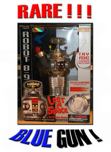 NIB-Lost-In-Space-B-9-Robot-TRENDMASTERS-Collector-Series-Chrome-w-BLUE-GUN