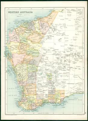 1912 Original Colour Antique Map - WESTERN AUSTRALIA  (84)
