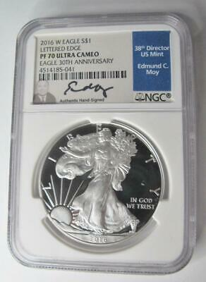 2016-W U.S. Silver Eagle NGC PF70 Lettered Edge 30th Annv Signed Moy - $87.00