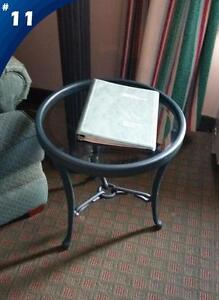 WOOD, METAL AND GLASS COFFEE TABLES AND SIDE TABLE FOR SALE!!