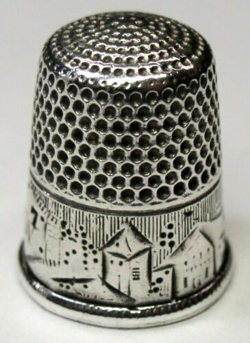 "Antique Simons Bros Sterling Silver Thimble  ""Landscape""  ""ESW"" Monogram  C1880s"