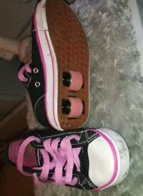 Girls heeleys size 12, black and pink