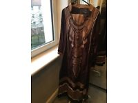 Asian Women Dress, size M, 3-piece, comes with trousers +dupatta, embroidery front & back