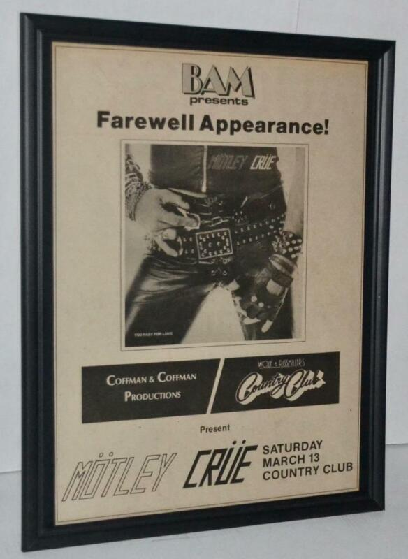 MOTLEY CRUE 1982 TOO FAST FOR LOVE TOUR CLUB CONCERT PROMO FRAMED POSTER / AD