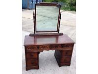 "VINTAGE SOLID OAK ""KNEE-HOLE"" DRESSING TABLE"