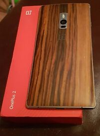 One Plus two mobile phone 64gb with walnut back cover