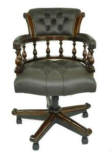 Classical Captains Chair Brown Green Leather Swivel Office Desk Chair