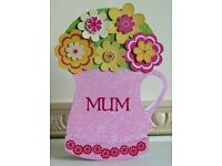 Handmade Rocking Flower Jug card for Mum with handmade gift box - for Birthday or Mother's Day