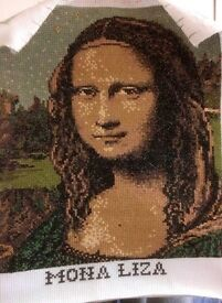 Hand cross Stitched Portrait of the Mona Lisa