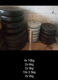 91kg of Various plastic weight plates