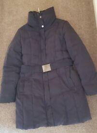 Size 12 Zara Black Padded Goose Down Puffer Coat 3/4 length