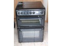 6 MONTHS WARRANTY, VERY GOOD CONDITION Hotpoint 60cm, double oven elecrtic cooker 4 MONTHS WARRANTY