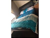 Leather Double Bed With Mattress For Sale