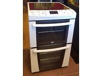 55cm Zanussi Ceramic Top Cooker, Double Oven Fan Assisted/ Grill - 6 Months Warranty