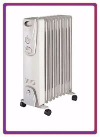 New 9 Fin 2KW Electric Oil Filled Portable Radiator Heater on Castor Wheels Thermostat Controlled