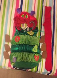 Brand new the very hungry caterpillar costume age 5-6 & red tights age 7-8