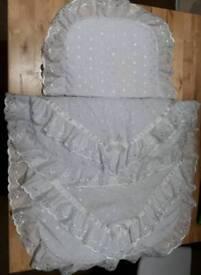 Satin and lace white pram set hardly used