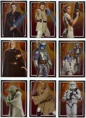 Star Wars Attack of the Clones Full 10 Card Character Foil Chase Set from Topps