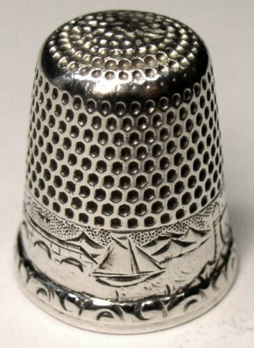 """Antique Waite Thresher Co. Sterling Silver Thimble  """"Water Scene""""  """"Mother"""""""