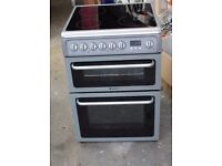6 MONTHS WARRANTY Silver Hotpoint DCS60S 60cm, double oven electric cooker FREE DELIVERY