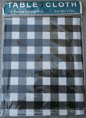 10 lot Checkered Plastic table cloth Party Black White Checker Reusable PICNIC