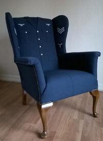 unique. raf uniform,vintage wingback armchair,