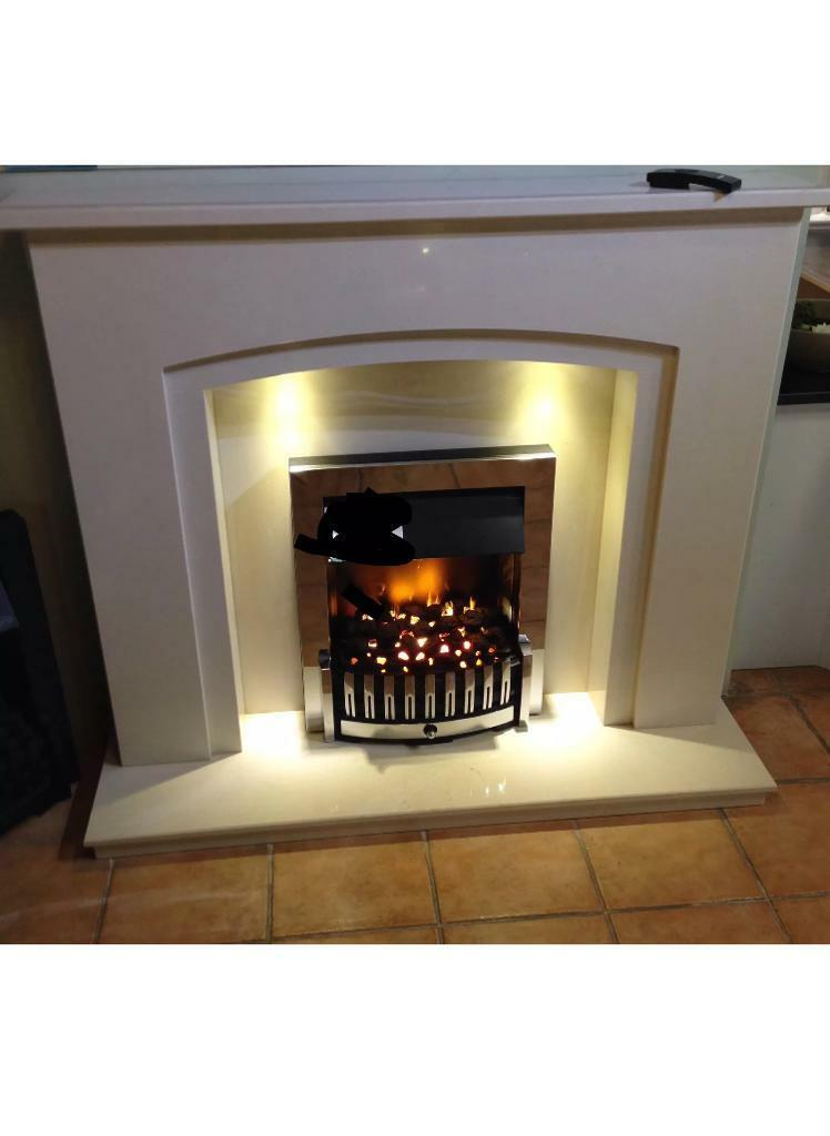 "48"" Marble Fireplace )NEW) led lights"