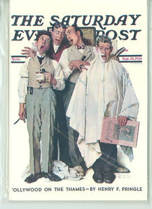 NORMAN ROCKWELL-SATURDAY EVENING POST BARBER SHOP QUARTET-4X6 (NR-91)*