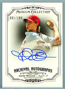 JERED WEAVER - 2012 Museum Collection Archival ON-CARD AUTO #081/100 - EXCH Card