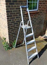 Aluminium step ladder 5 step lightweight aluminium, made in Germany