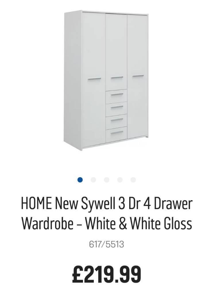 H A L F P R I C E !!!! NEW EX DISPLAY 3 DOOR 4 DRAWER WARDROBE White/White Gloss Retail Price £212