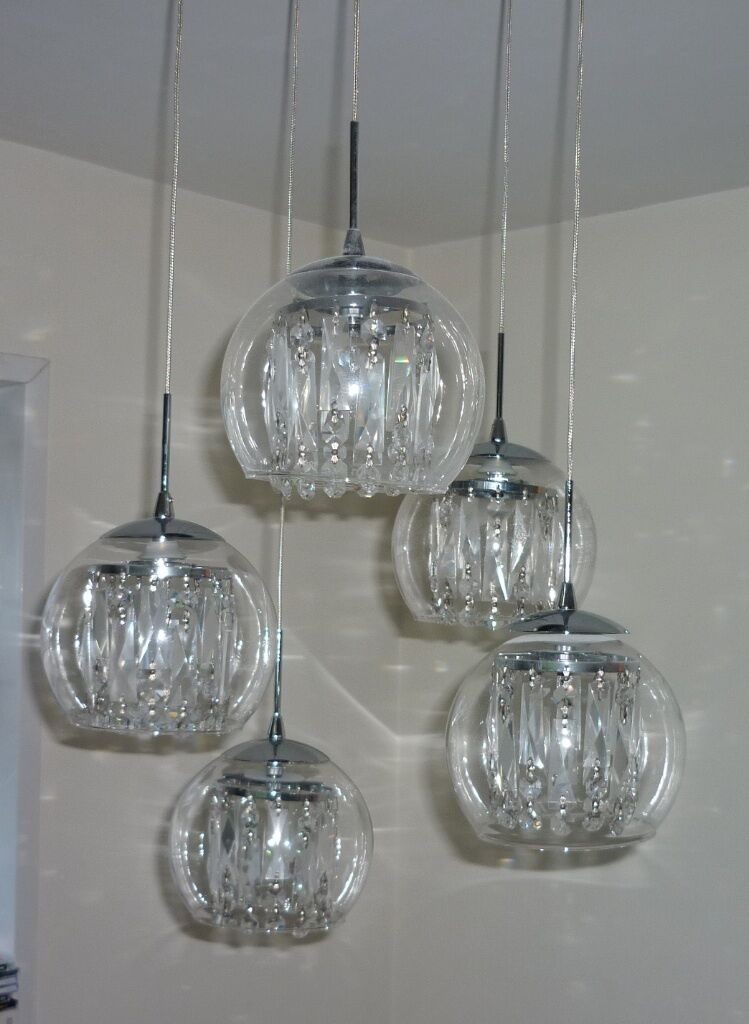 Glass Amp Crystal Spiral 5 Globe Pendant Light Chrome