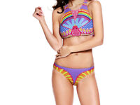 Sporty Tribal Print High Neck 2 Piece Swimsuit Size 12 / 14 NEW