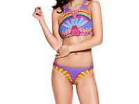 Sporty Tribal Print High Neck 2 Piece Swimsuit Size 12 / 14 NEW