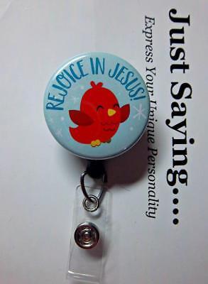 REJOICE IN JESUS - Cute Red Bird Winter   LTD EDITION Retractable Reel ID Badge