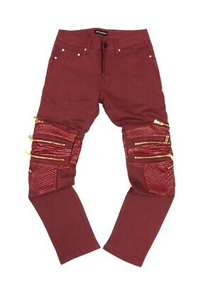 GOD'S MASTERFUL CHILDREN Feroce Moto Biker Fashion Leather-Zip Jeans (SZ 38X34)