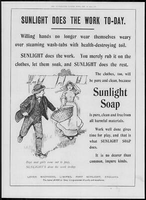 1904 Antique ADVERTISING Print - SUNLIGHT SOAP Port Sunlight Lever Bros (118)