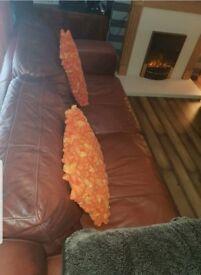 2 large brown 3 seater sofas