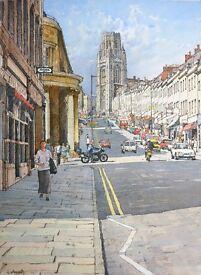 'Park Street', Bristol, UK. Original painting by artist Lionell Aggett.