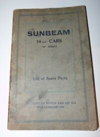 SUNBEAM 14 HP CARS Illustrated Spare Parts List Catalogue c1927 313