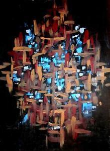 """9X12"""" VIVA LAS VEGAS Acrylic on Paper, Abstract Original Painting Art - GTA Toronto Valerie Koudelka Canada OAKVILLE"""