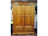Solid pine double wardrobe with 2 drawers