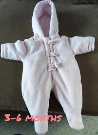 Baby pink snowsuit 3-6 Months