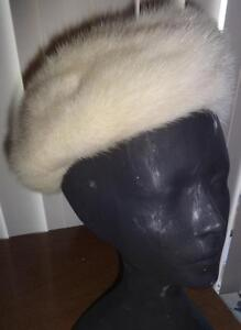 WOMENS MINK HAT TAM BERET VINTAGE CREAM AZURENE REAL FUR M Made in Canada Retro