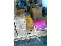 Mixed pallet goods shoes aprons batterys hi viz loads more