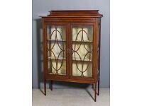 Edwardian Display Cabinet Mahogany inlaid with satinwood banding