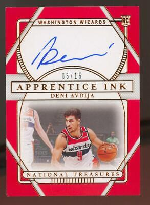 2020 National Treasures Apprentice Ink Deni Avdija 5/15 Auto Autograph RC Rookie