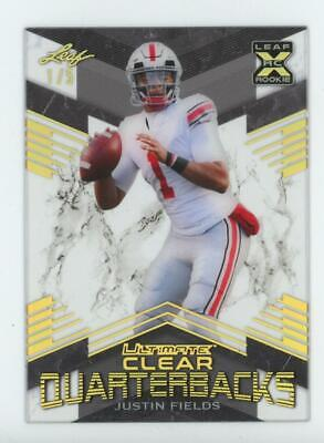 2021 Leaf Ultimate Clear Quarterbacks Holo Gold Justin Fields  2/5 RC Rookie
