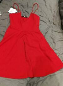Missguided Strappy Skater Dress Red Size 10